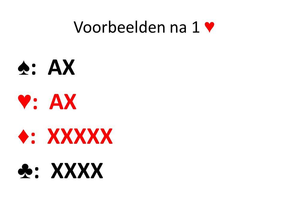 Voorbeelden na 1 ♥ ♠: AX ♥: AX ♦: XXXXX ♣: XXXX