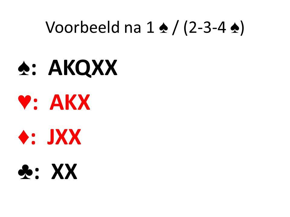 Voorbeeld na 1 ♠ / (2-3-4 ♠) ♠: AKQXX ♥: AKX ♦: JXX ♣: XX