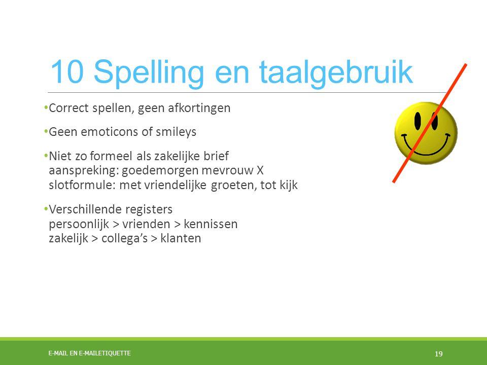 10 Spelling en taalgebruik