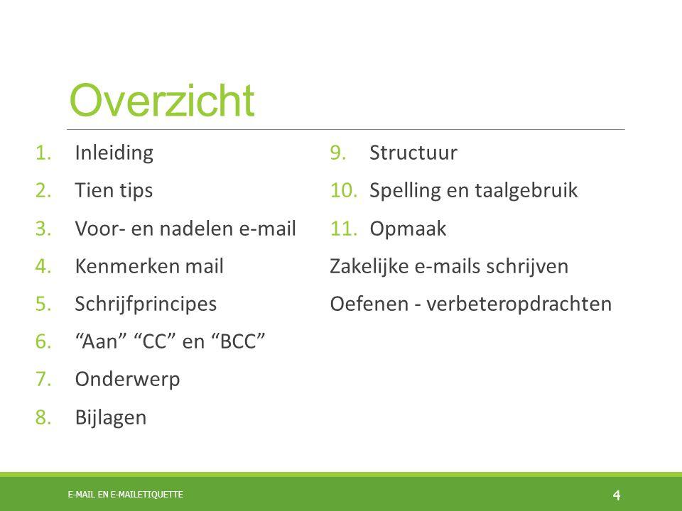 Overzicht Inleiding Structuur Tien tips Spelling en taalgebruik