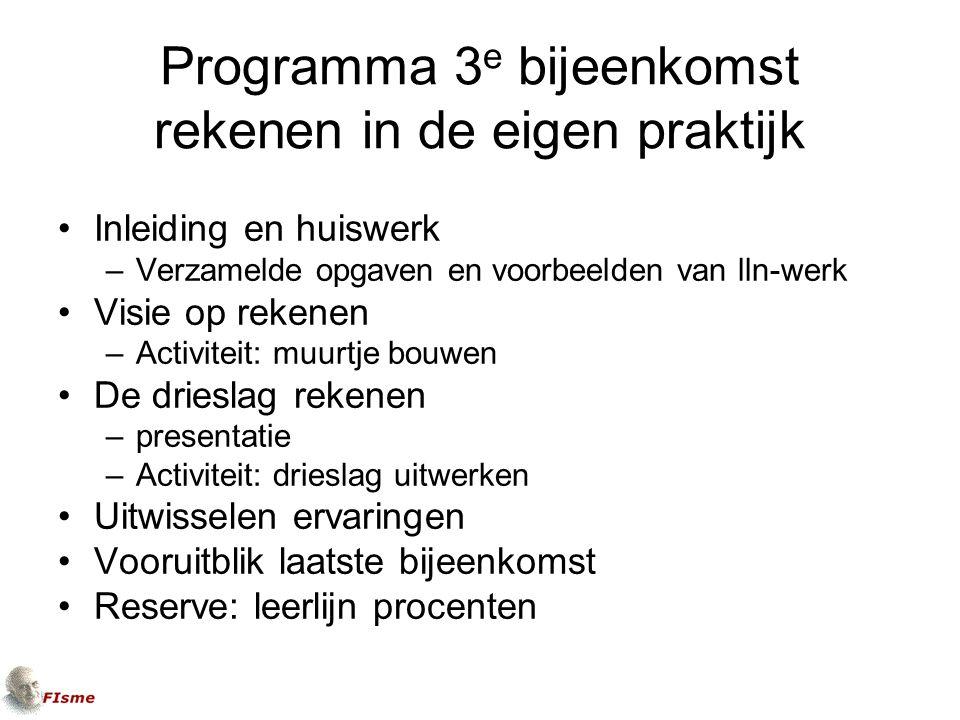 Programma 3e bijeenkomst rekenen in de eigen praktijk