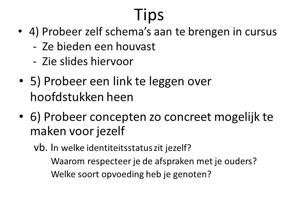 Tips 5) Probeer een link te leggen over hoofdstukken heen
