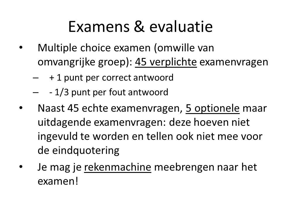 Examens & evaluatie Multiple choice examen (omwille van omvangrijke groep): 45 verplichte examenvragen.