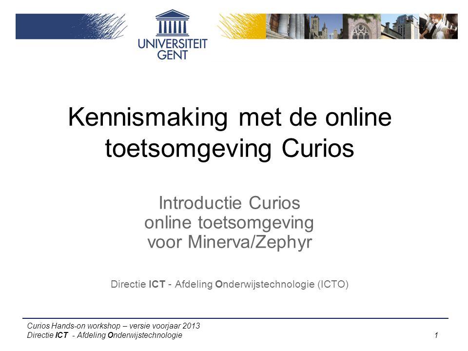 Kennismaking met de online toetsomgeving Curios