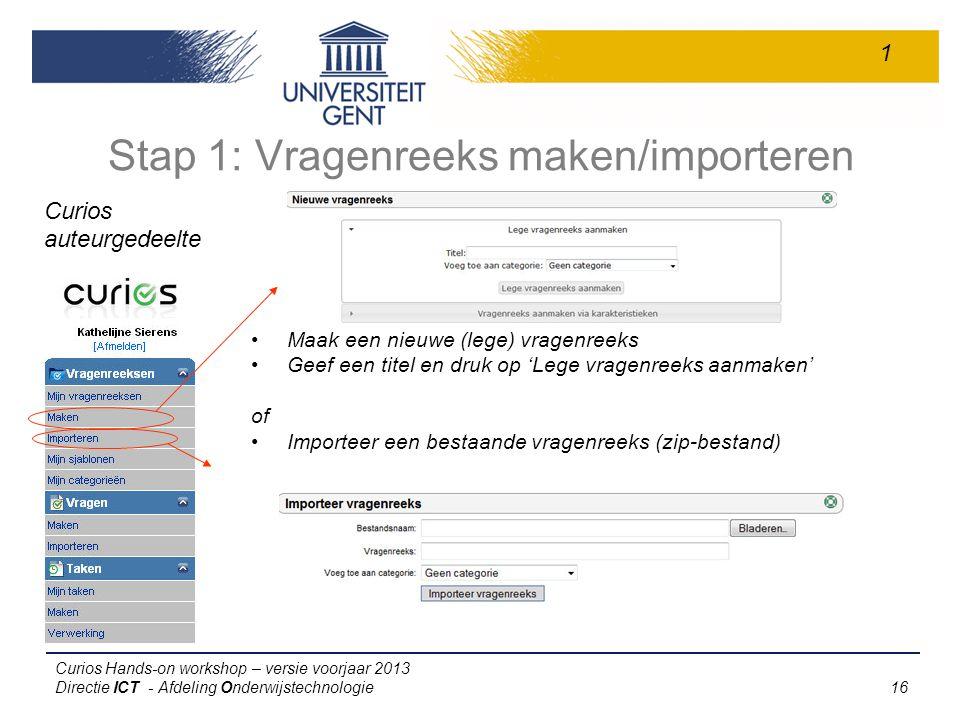 Stap 1: Vragenreeks maken/importeren