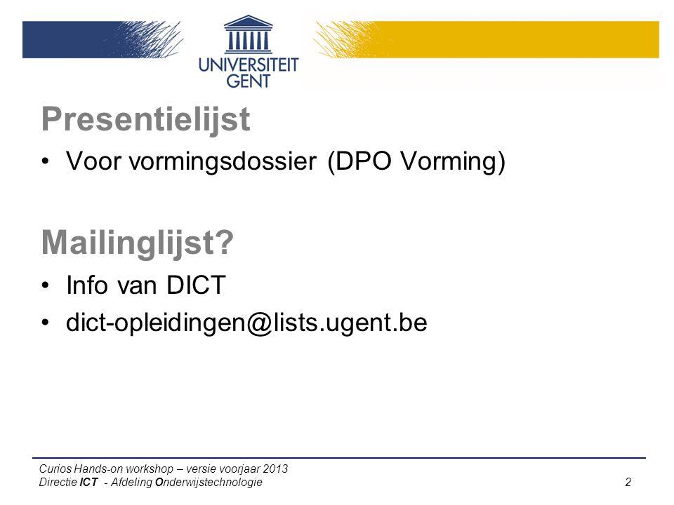 Presentielijst Mailinglijst Voor vormingsdossier (DPO Vorming)