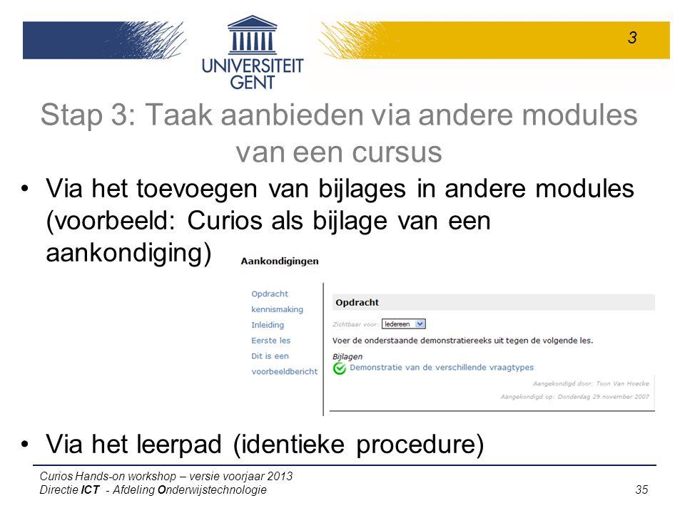 Stap 3: Taak aanbieden via andere modules van een cursus