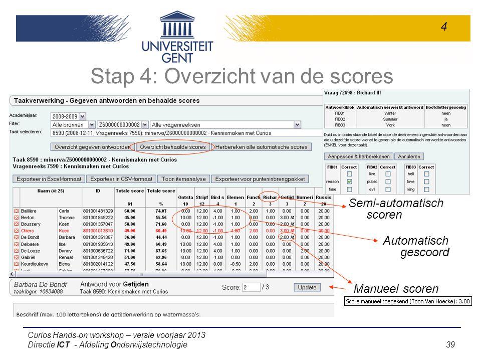 Stap 4: Overzicht van de scores