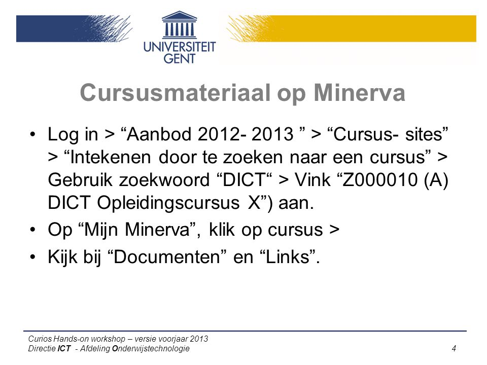 Cursusmateriaal op Minerva