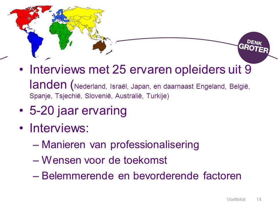 Interviews met 25 ervaren opleiders uit 9 landen (Nederland, Israël, Japan, en daarnaast Engeland, België, Spanje, Tsjechië, Slovenië, Australië, Turkije)