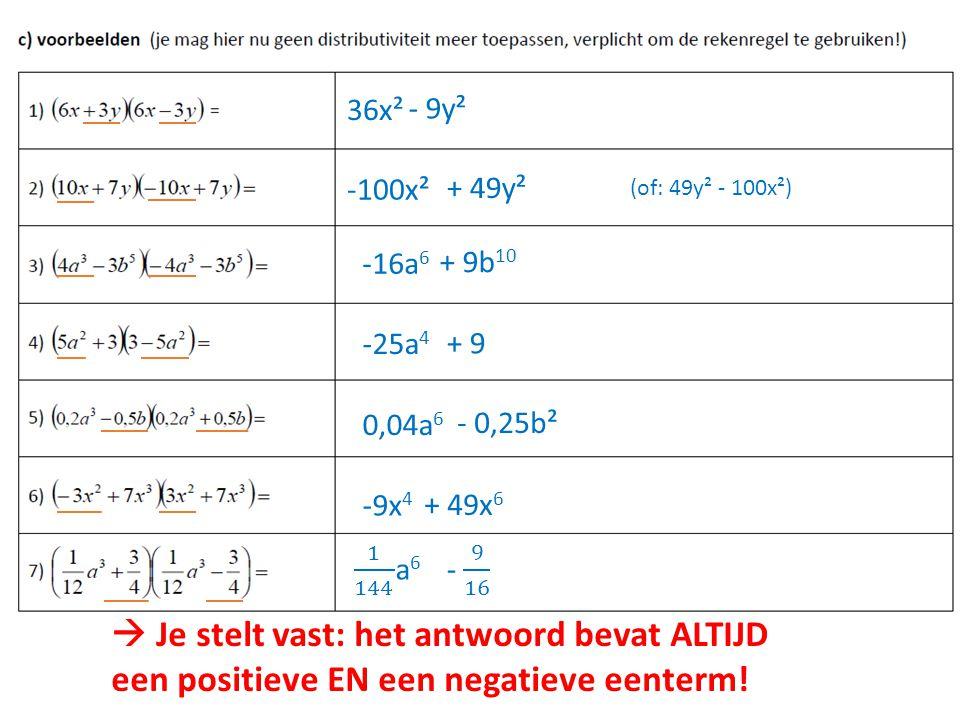36x² - 9y². -100x². + 49y². (of: 49y² - 100x²) -16a6. + 9b10. -25a4. + 9. 0,04a6. - 0,25b².