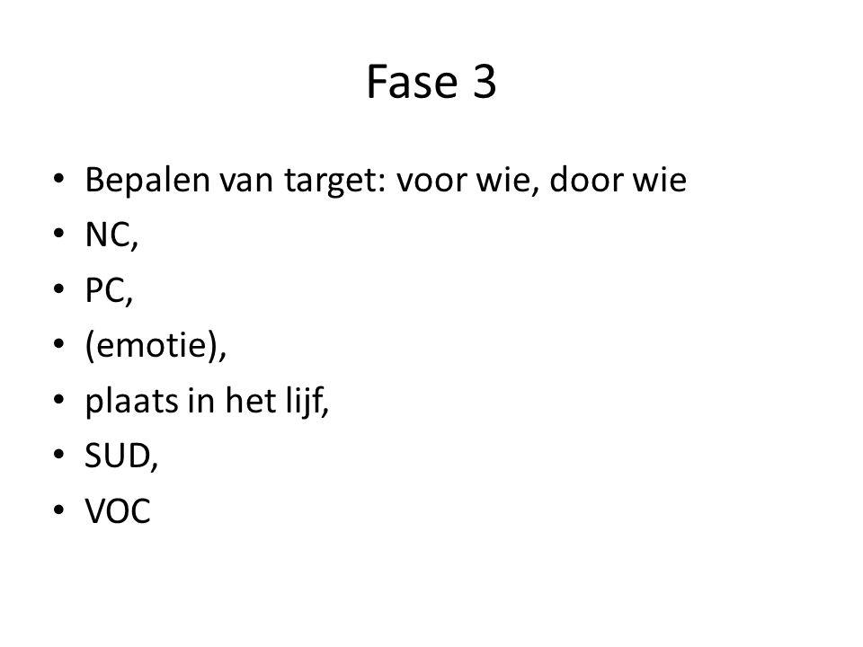 Fase 3 Bepalen van target: voor wie, door wie NC, PC, (emotie),