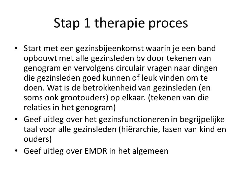 Stap 1 therapie proces