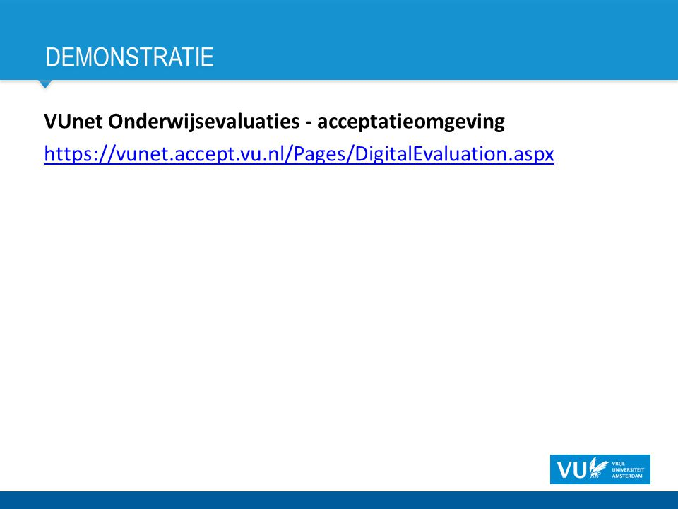 demonstratie VUnet Onderwijsevaluaties - acceptatieomgeving