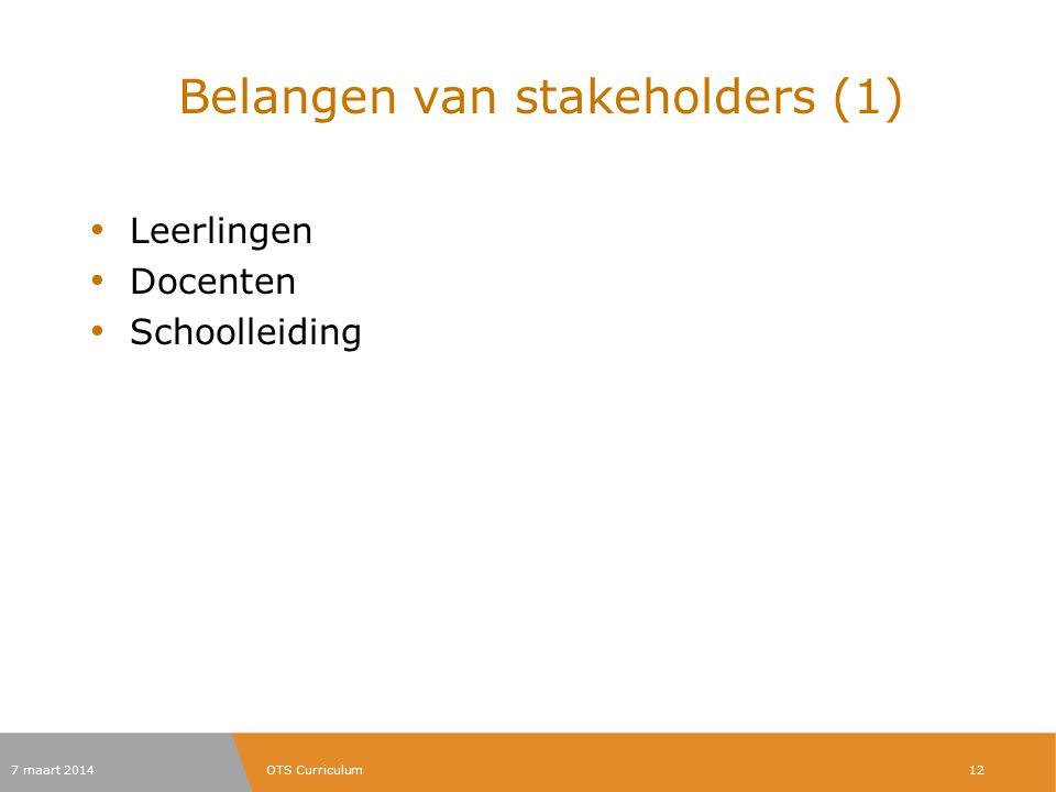 Belangen van stakeholders (1)
