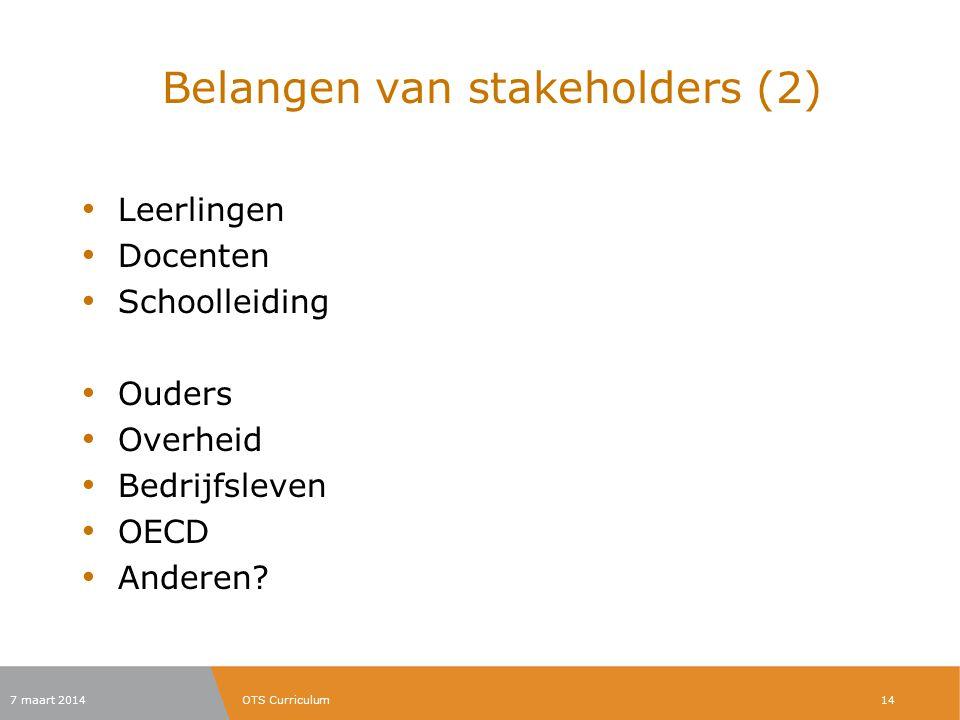 Belangen van stakeholders (2)