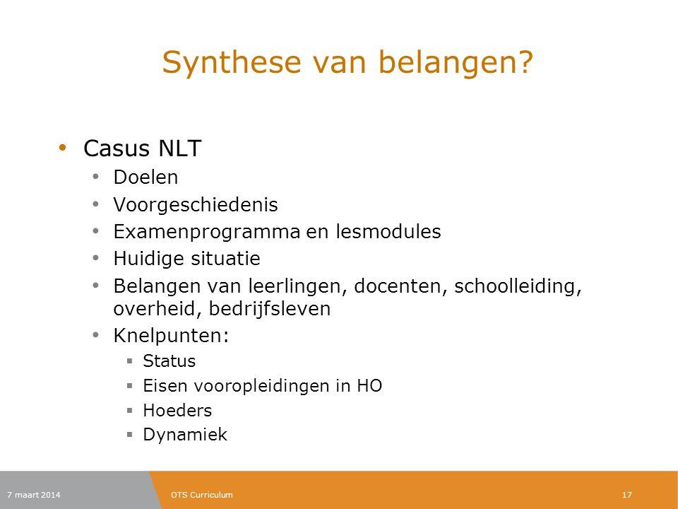 Synthese van belangen Casus NLT Doelen Voorgeschiedenis