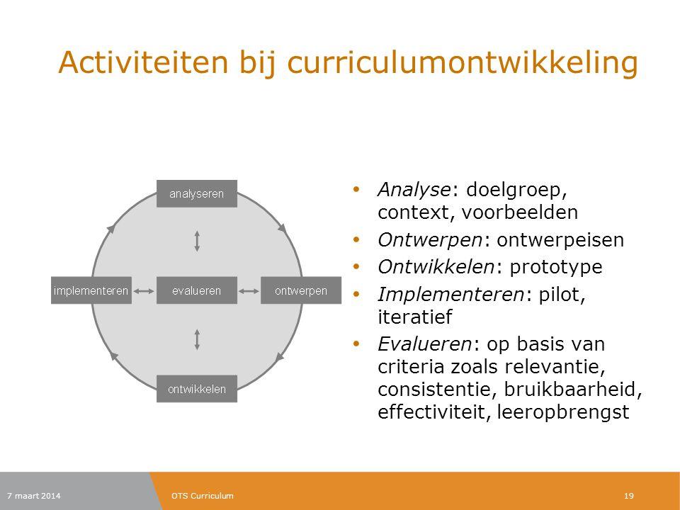 Activiteiten bij curriculumontwikkeling