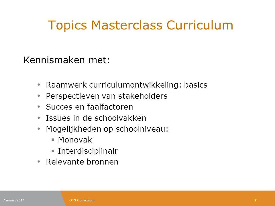 Topics Masterclass Curriculum