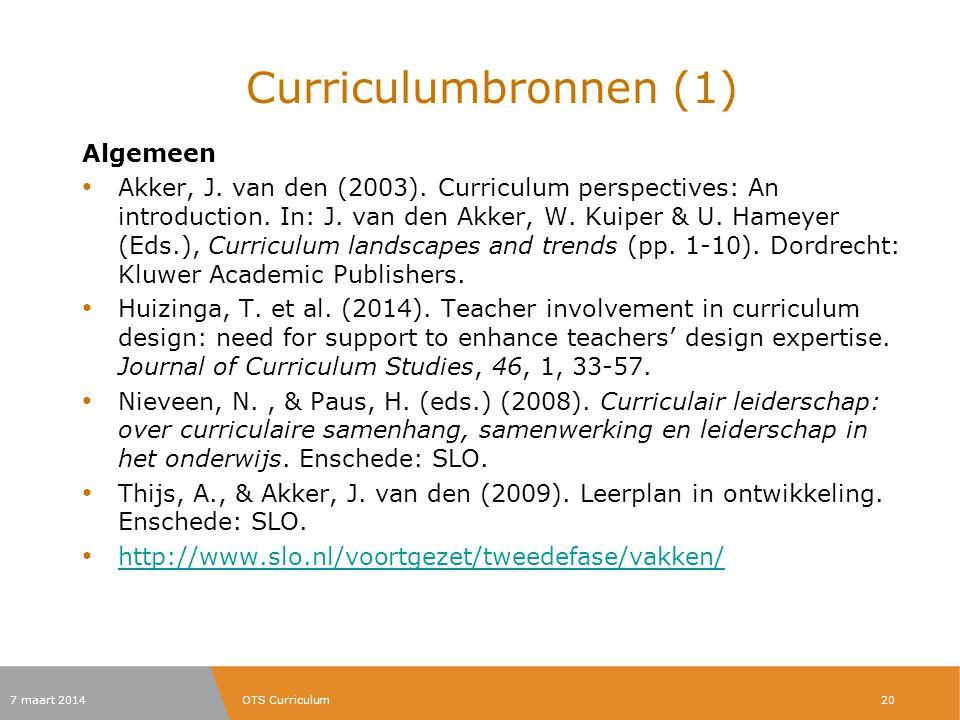 Curriculumbronnen (1) Algemeen