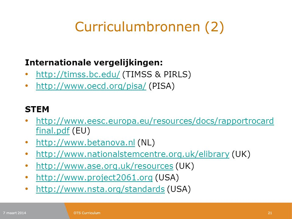 Curriculumbronnen (2) Internationale vergelijkingen: