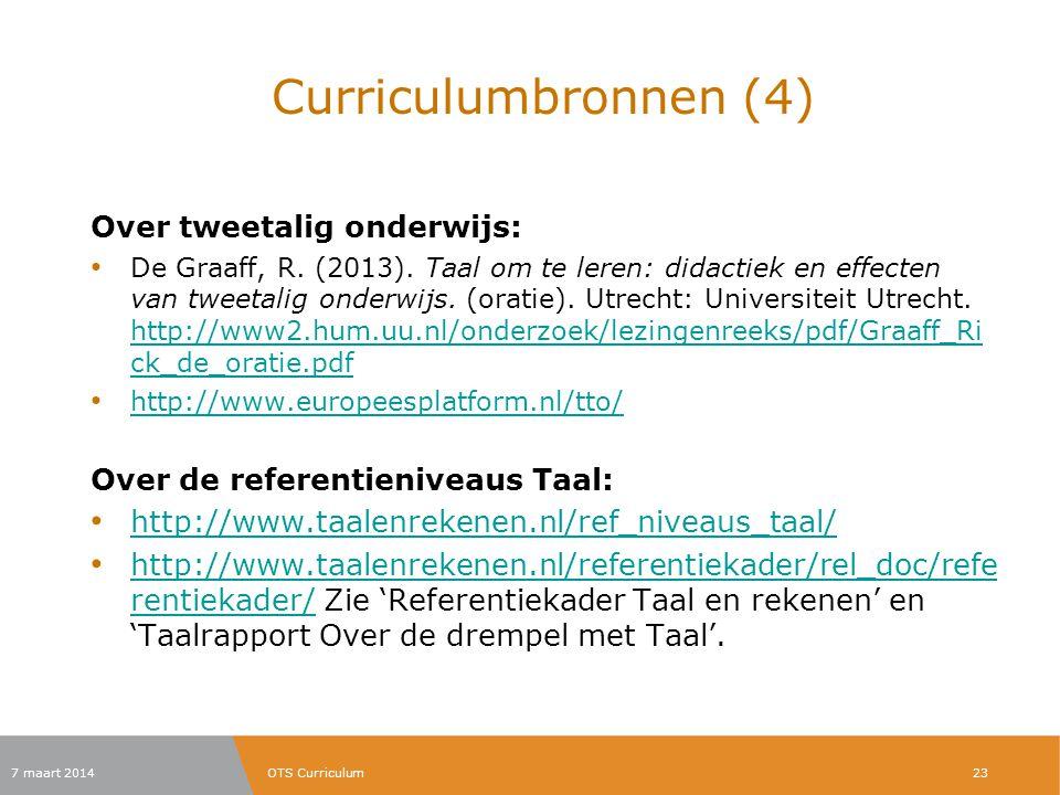 Curriculumbronnen (4) Over tweetalig onderwijs:
