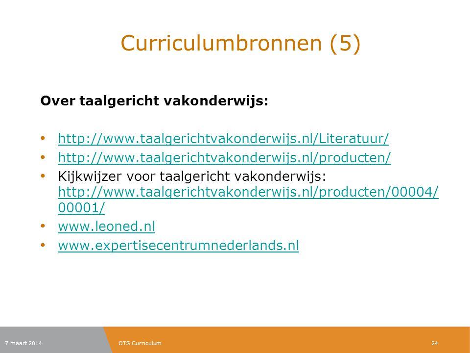 Curriculumbronnen (5) Over taalgericht vakonderwijs: