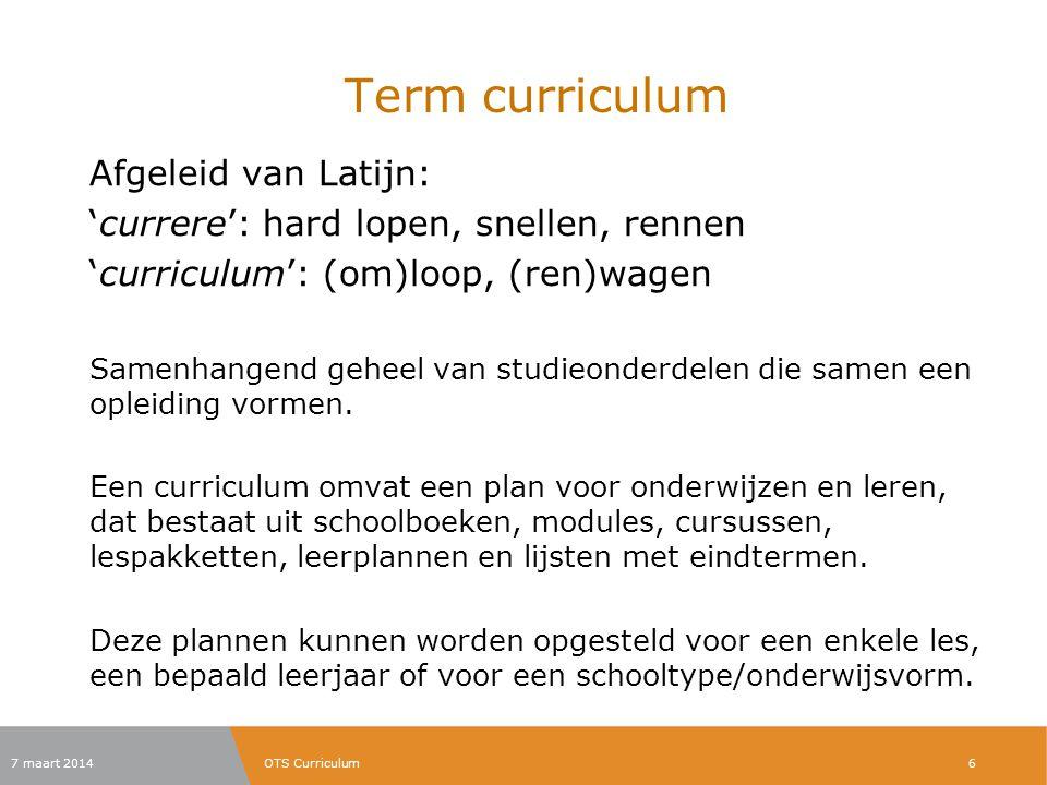 Term curriculum Afgeleid van Latijn: