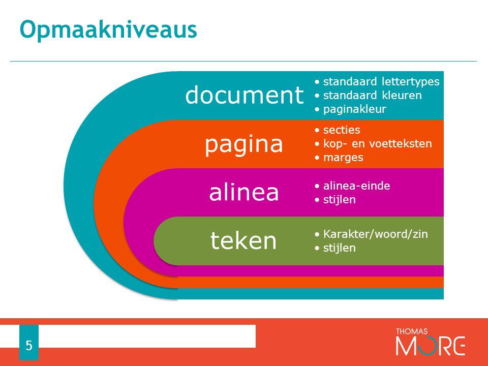 Opmaakniveaus document standaard lettertypes standaard kleuren