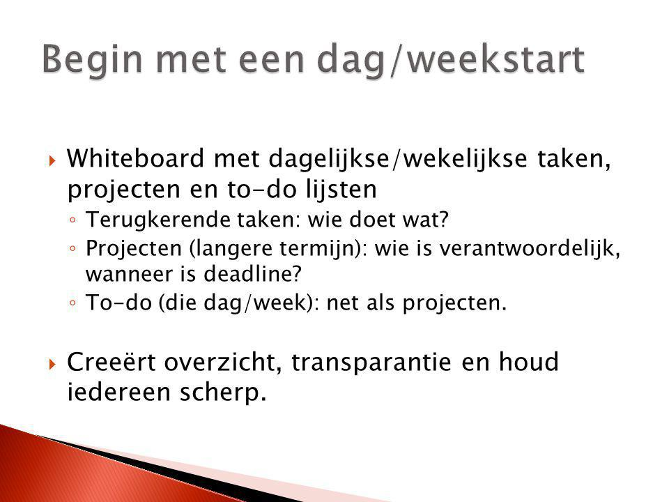 Begin met een dag/weekstart
