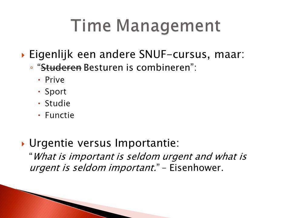 Time Management Eigenlijk een andere SNUF-cursus, maar: