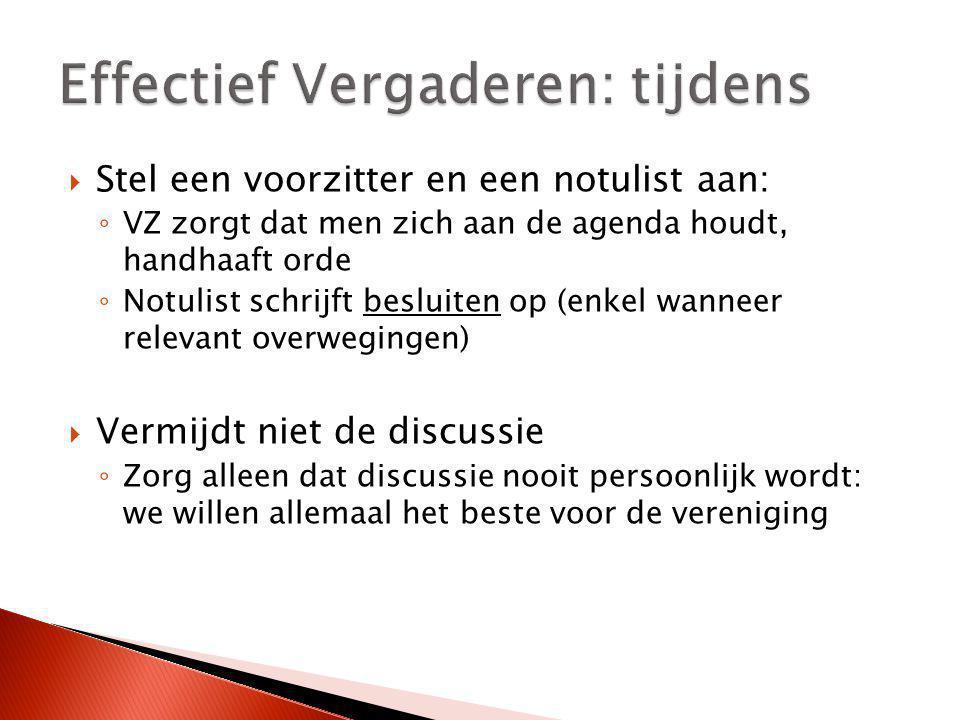 Effectief Vergaderen: tijdens