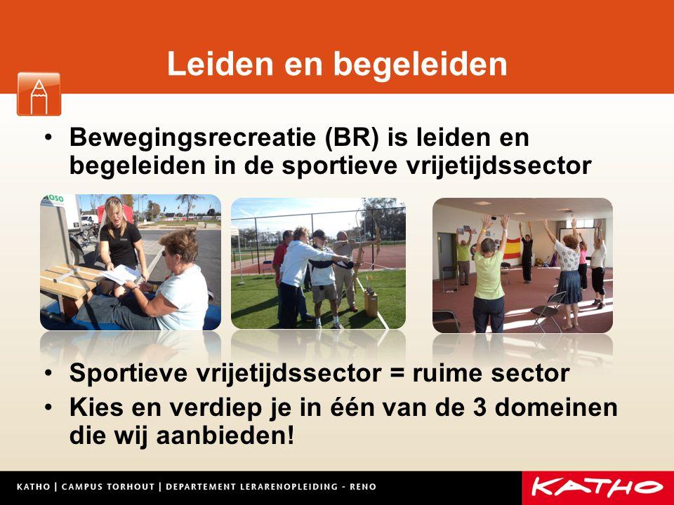 Leiden en begeleiden Bewegingsrecreatie (BR) is leiden en begeleiden in de sportieve vrijetijdssector.