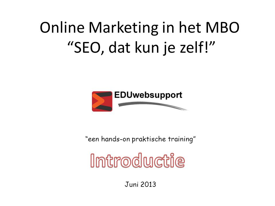 Online Marketing in het MBO SEO, dat kun je zelf!