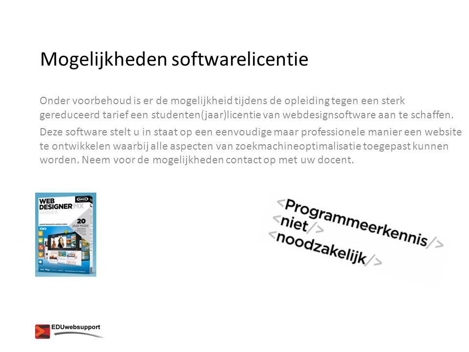 Mogelijkheden softwarelicentie