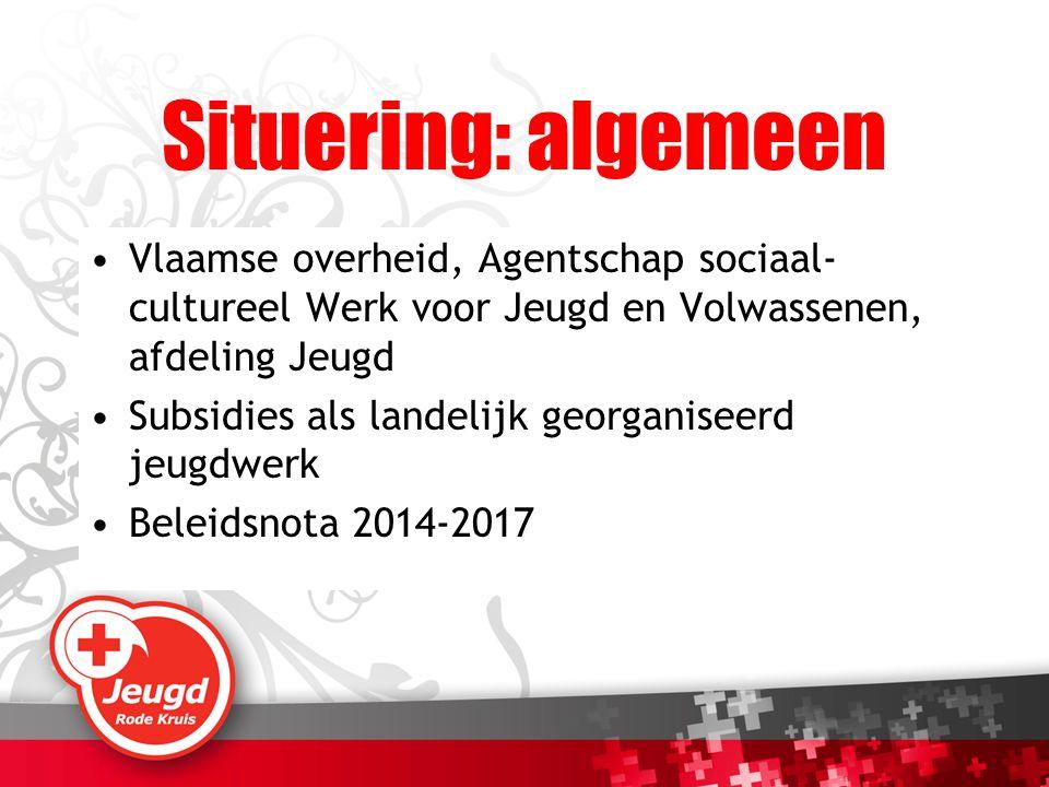 Situering: algemeen Vlaamse overheid, Agentschap sociaal-cultureel Werk voor Jeugd en Volwassenen, afdeling Jeugd.