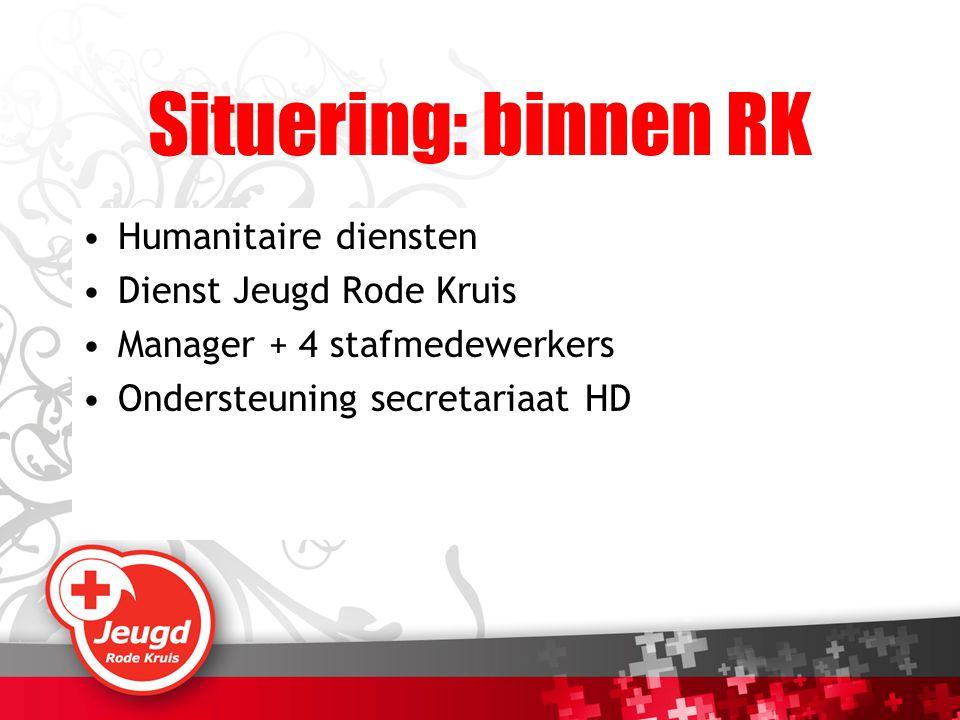 Situering: binnen RK Humanitaire diensten Dienst Jeugd Rode Kruis