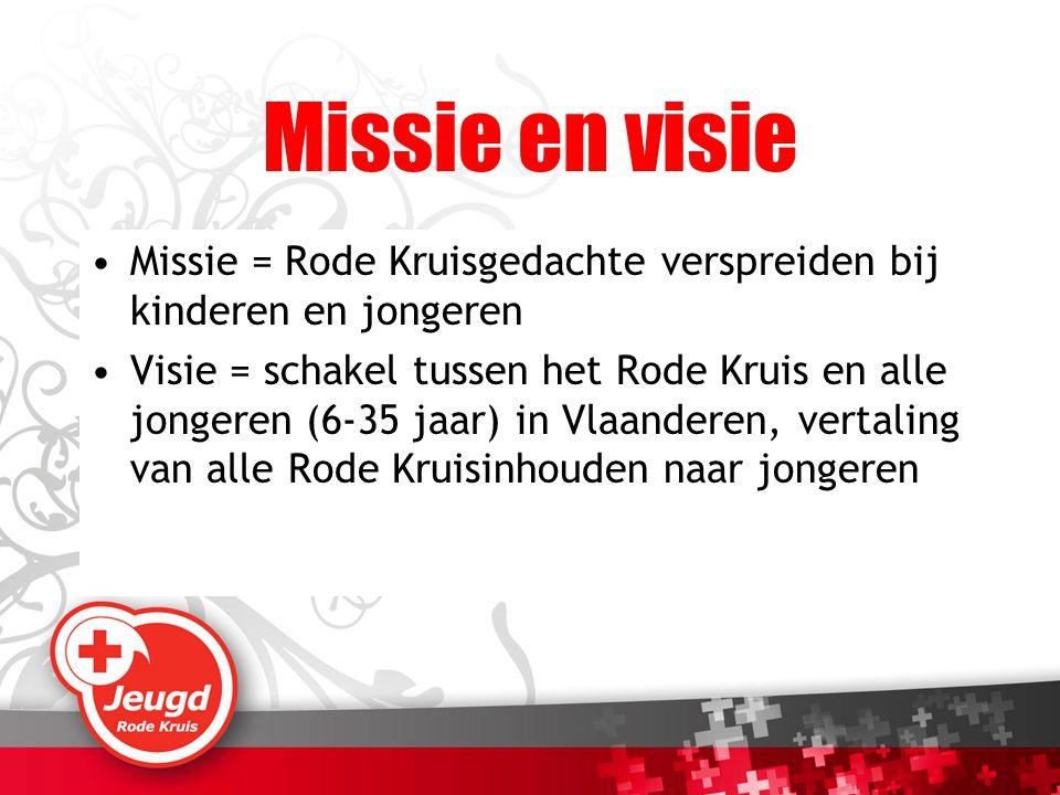 Missie en visie Missie = Rode Kruisgedachte verspreiden bij kinderen en jongeren.