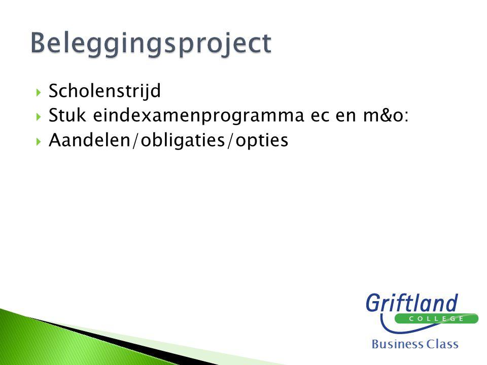 Beleggingsproject Scholenstrijd Stuk eindexamenprogramma ec en m&o: