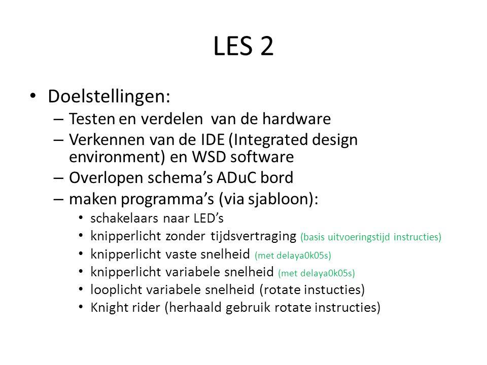 LES 2 Doelstellingen: Testen en verdelen van de hardware