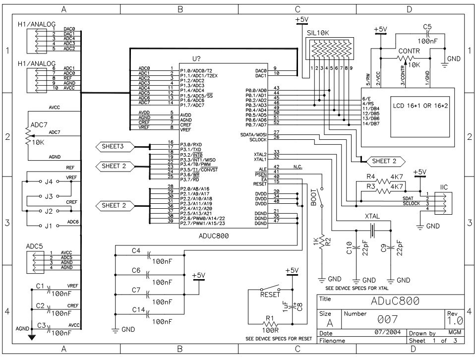 Hardware ADuC bord