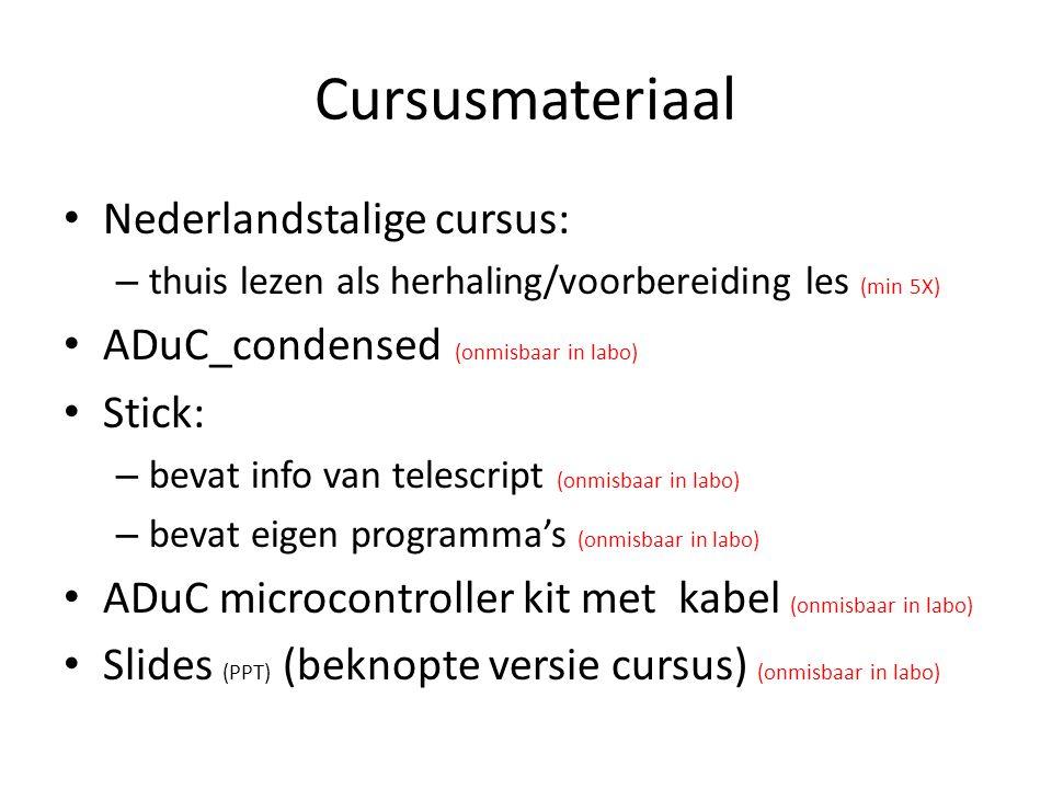Cursusmateriaal Nederlandstalige cursus: