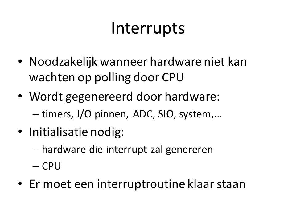 Interrupts Noodzakelijk wanneer hardware niet kan wachten op polling door CPU. Wordt gegenereerd door hardware: