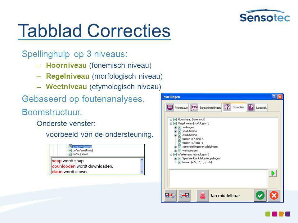Tabblad Correcties Spellinghulp op 3 niveaus: