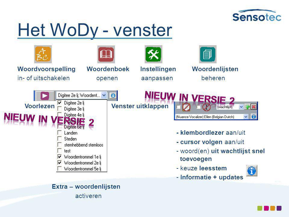 Het WoDy - venster Nieuw in versie 2 Nieuw in versie 2
