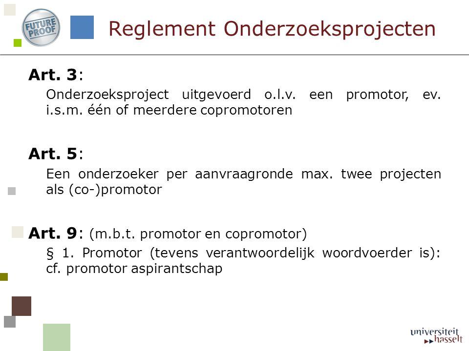 Reglement Onderzoeksprojecten