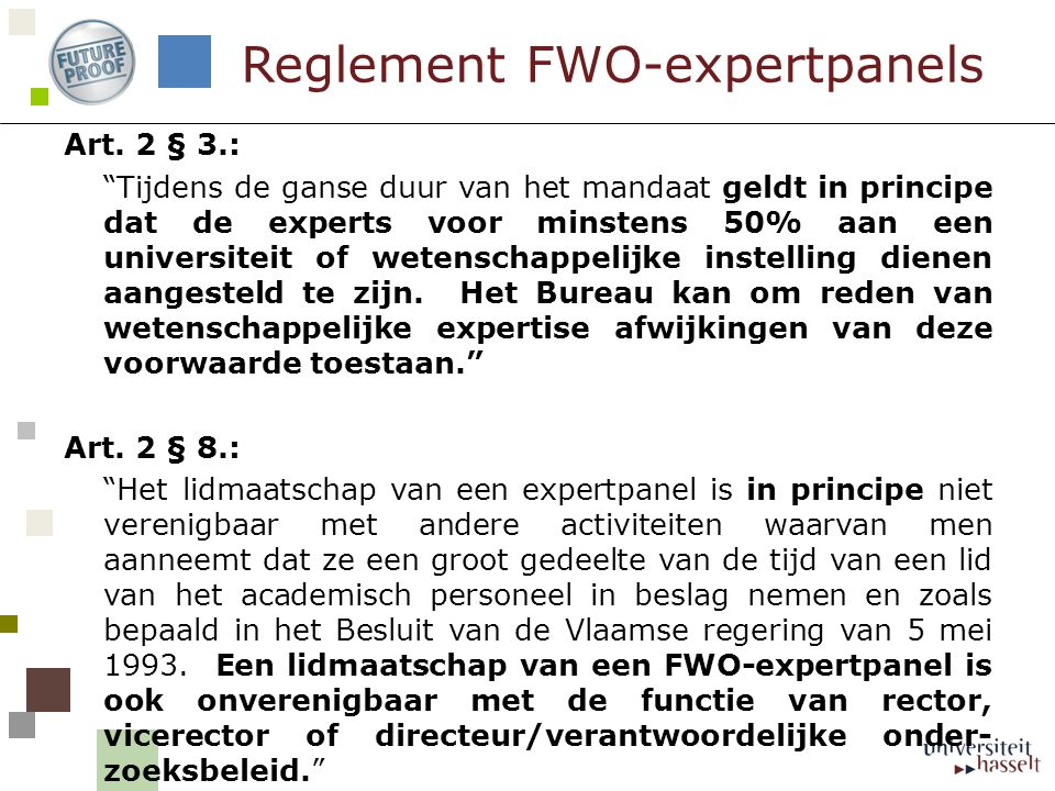 Reglement FWO-expertpanels