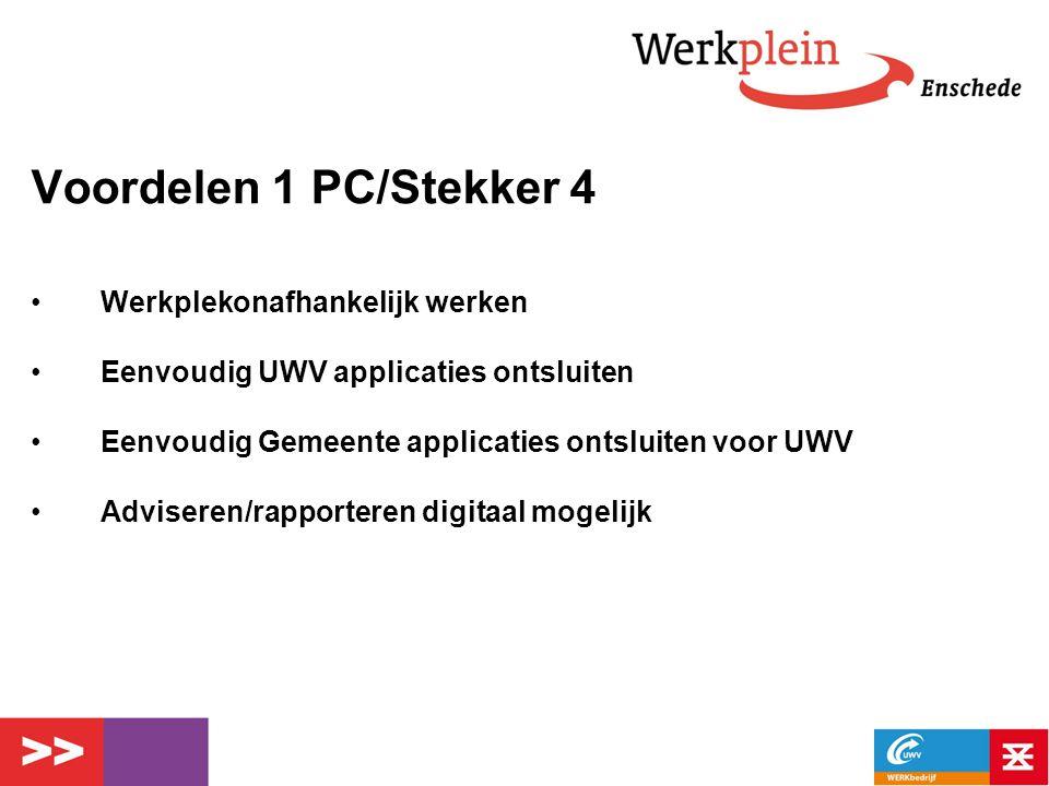 Voordelen 1 PC/Stekker 4 Werkplekonafhankelijk werken