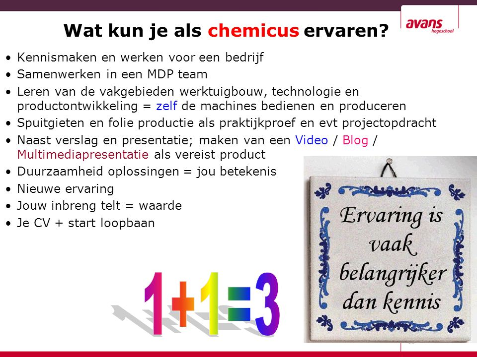 Wat kun je als chemicus ervaren