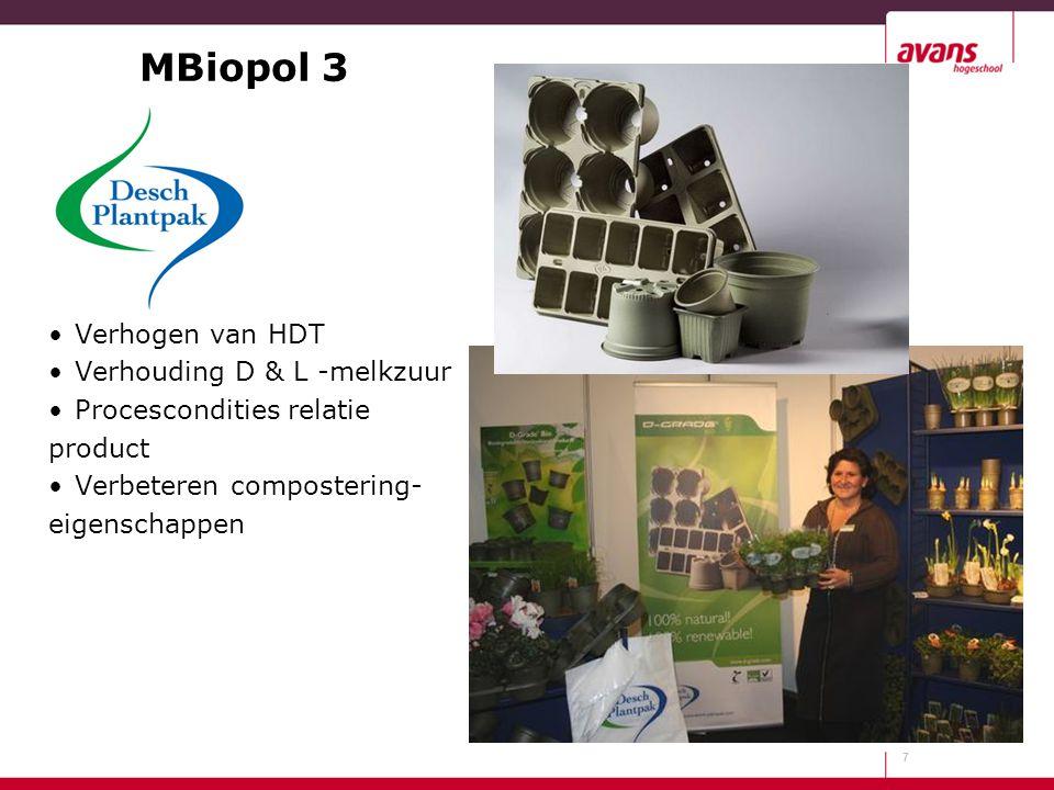MBiopol 3 Verhogen van HDT Verhouding D & L -melkzuur